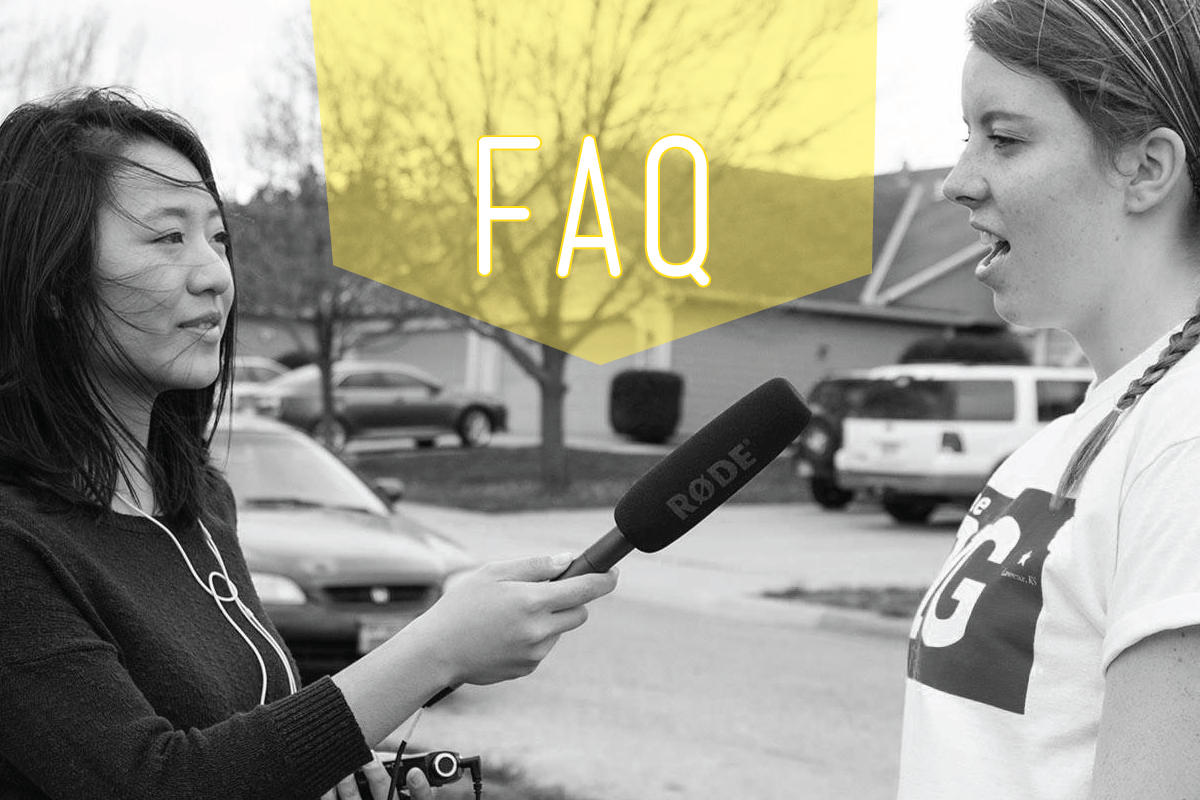 "Student volunteer being interviewed with ""FAQ"" over the photo."